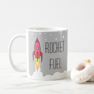 Rocket Fuel Pink Retro Vintage Rocket Ship Funny Coffee Mug