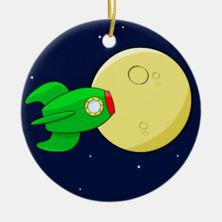 Rocket in the moon christmas ornament