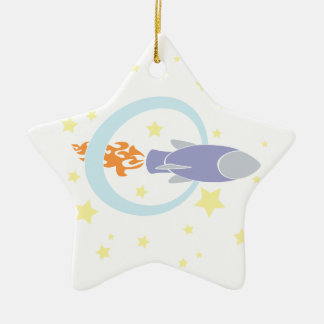 Rocket Kids Retro Space Ship Christmas Ornament