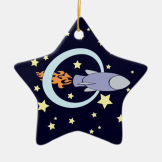 Rocket Kids Retro Space Ship (Night) Christmas Ornament