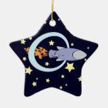 Rocket Kids Retro Space Ship (Night) Ornament