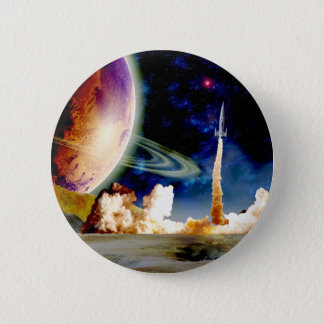 Rocket Launch 6 Cm Round Badge