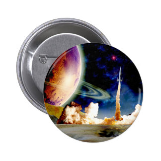 Rocket Launch 6 Cm Round Badge