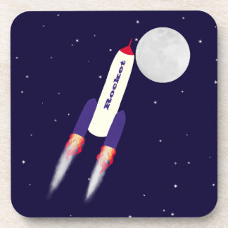 Rocket of Red White and Blue in Space Cartoon Art Coasters