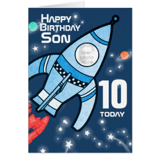 Rocket photo Son 10th birthday boys card