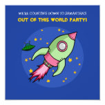 Rocket pink green Birthday Invitation