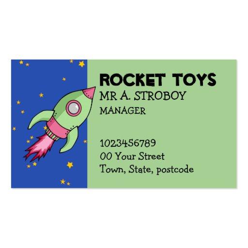 Rocket pink green Business Card