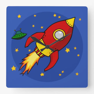 Rocket red Square Wall Clock