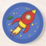 Rocket red yellow Coaster