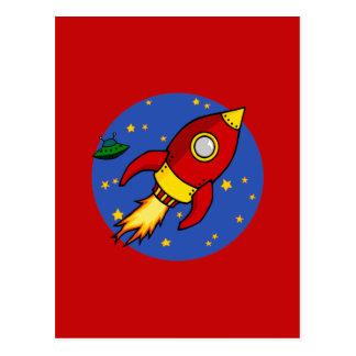 Rocket red yellow Postcard
