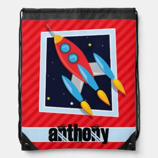 Rocket; Scarlet Red Stripes Cinch Bag