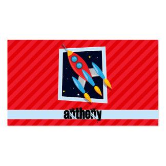 Rocket; Scarlet Red Stripes Pack Of Standard Business Cards