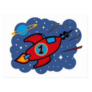 Rocket Ship 1st Birthday Postcard