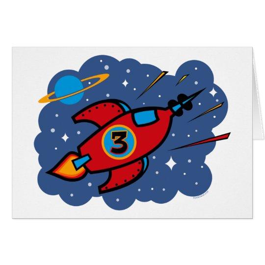 Rocket Ship 3rd Birthday Card