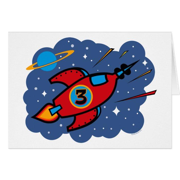 Rocket Ship 3rd Birthday Greeting Card