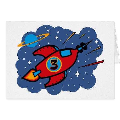 Rocket Ship 3rd Birthday Greeting Cards