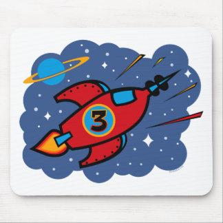 Rocket Ship 3rd Birthday Mouse Mat