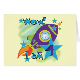 Rocket Ship 4th Birthday T-shirts and Gifts Card