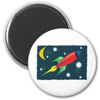 Rocket Ship 6 Cm Round Magnet