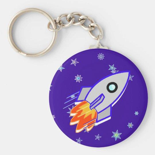 Rocket Ship Basic Round Button Key Ring