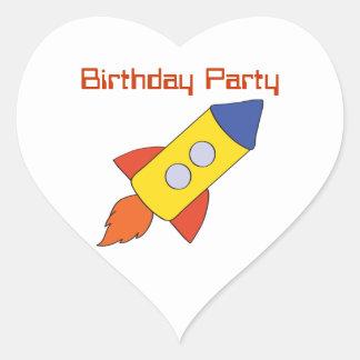 Rocket Ship Birthday Party Stickers