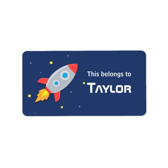 Rocket Ship Blast into Outer Space, For kids Address Label
