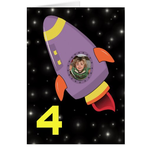 Rocket Ship Boys Birthday Card Photo Template
