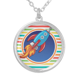 Rocket Ship; Bright Rainbow Stripes Silver Plated Necklace