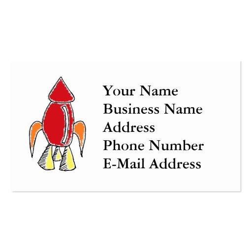 Rocket Ship Cartoon Business Cards