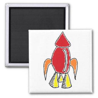 Rocket Ship Cartoon Square Magnet