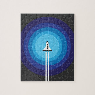 Rocket ship flies past the Blue Planet Jigsaw Puzzle