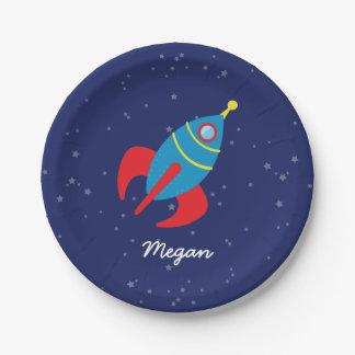 Rocket Ship in Space 7 Inch Paper Plate