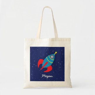 Rocket Ship in Space Budget Tote Bag
