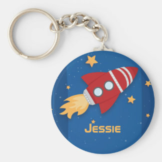 Rocket Ship Basic Round Button Key Ring
