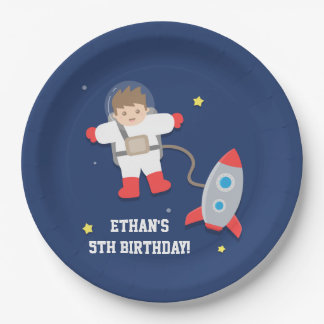 Rocket Ship Outer Space Astronaut Birthday Party 9 Inch Paper Plate