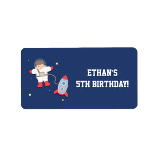 Rocket Ship Outer Space Astronaut Birthday Party Label