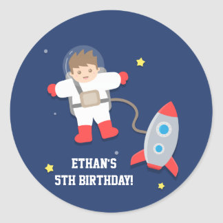 Rocket Ship Outer Space Astronaut Birthday Party Round Sticker