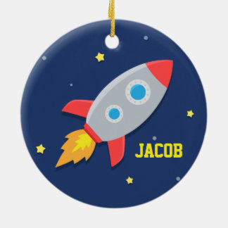 Rocket Ship, Outer Space, For Boys Christmas Ornament