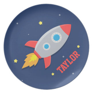 Rocket Ship, Outer Space, For Boys Plate