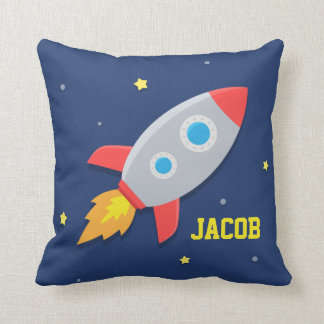 Rocket Ship, Outer Space, For Kids Room Cushion
