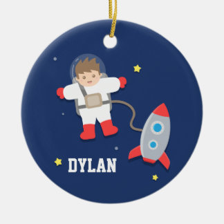 Rocket Ship Outer Space Little Astronaut Boys Room Round Ceramic Decoration