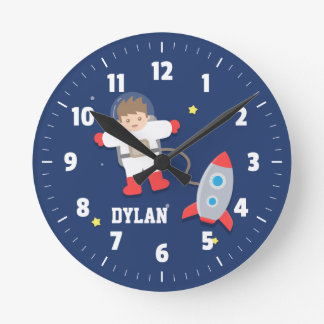 Rocket Ship Outer Space Little Astronaut Boys Room Round Clock