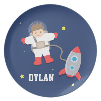 Rocket Ship Outer Space Little Astronaut For Kids Party Plates