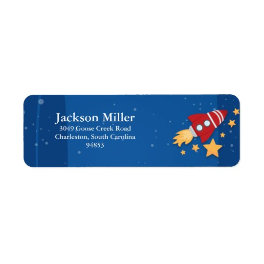 Rocket Ship Return Address Label