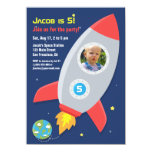 Rocket Ship Space Party Kids Birthday Photo 11 Cm X 16 Cm Invitation Card