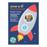Rocket Ship Space Party Kids Birthday Photo 11 Cm X 16 Cm Invitation Card