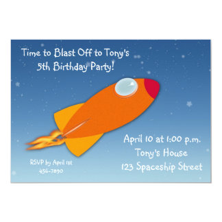 Rocket Ship Themed Birthday Personalized Invite