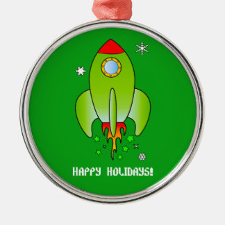 Rocket Ship with Stars and Snowflakes Holidays Christmas Ornament