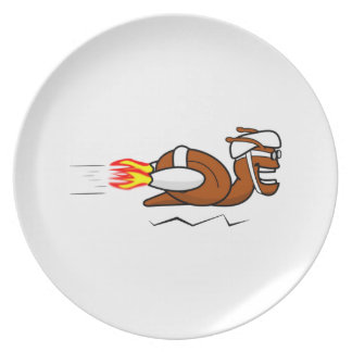 Rocket Snail Cartoon Plates