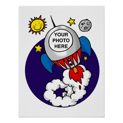 rocket space kid - add your own photo print